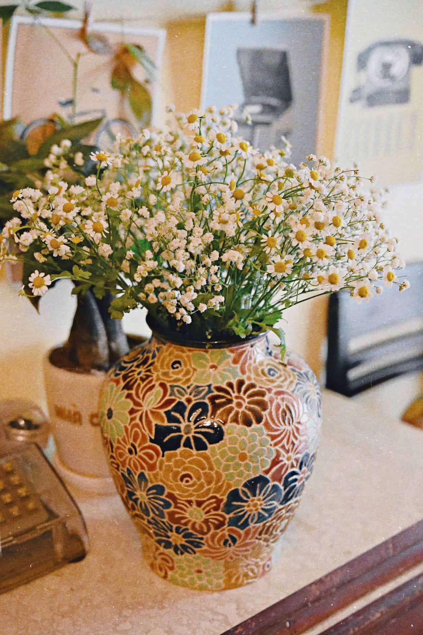 bình bách hoa để bàn