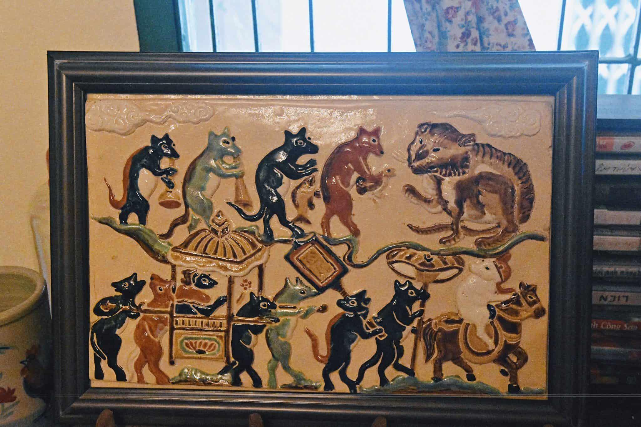 tranh gốm Đám cưới chuột