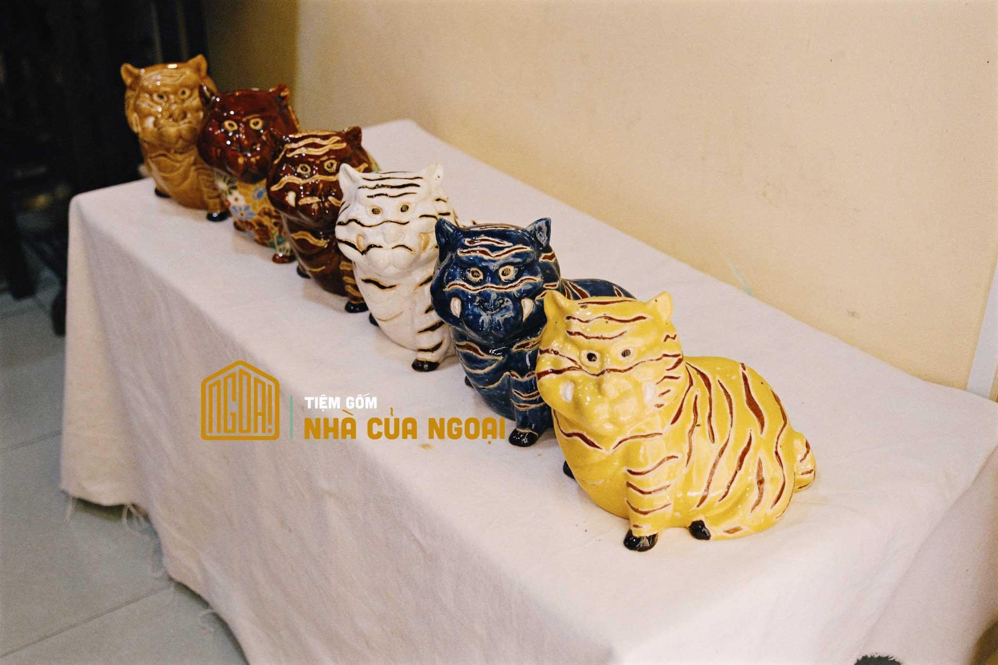tượng cọp gốm mỹ nghệ đủ màu